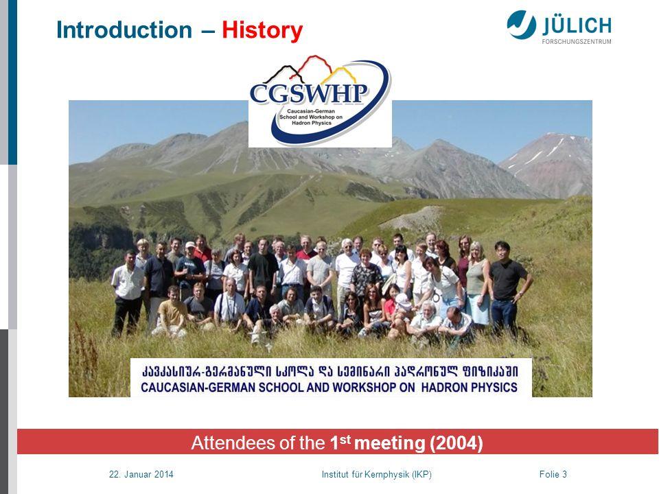 22. Januar 2014 Institut für Kernphysik (IKP) Folie 3 Introduction – History Attendees of the 1 st meeting (2004)