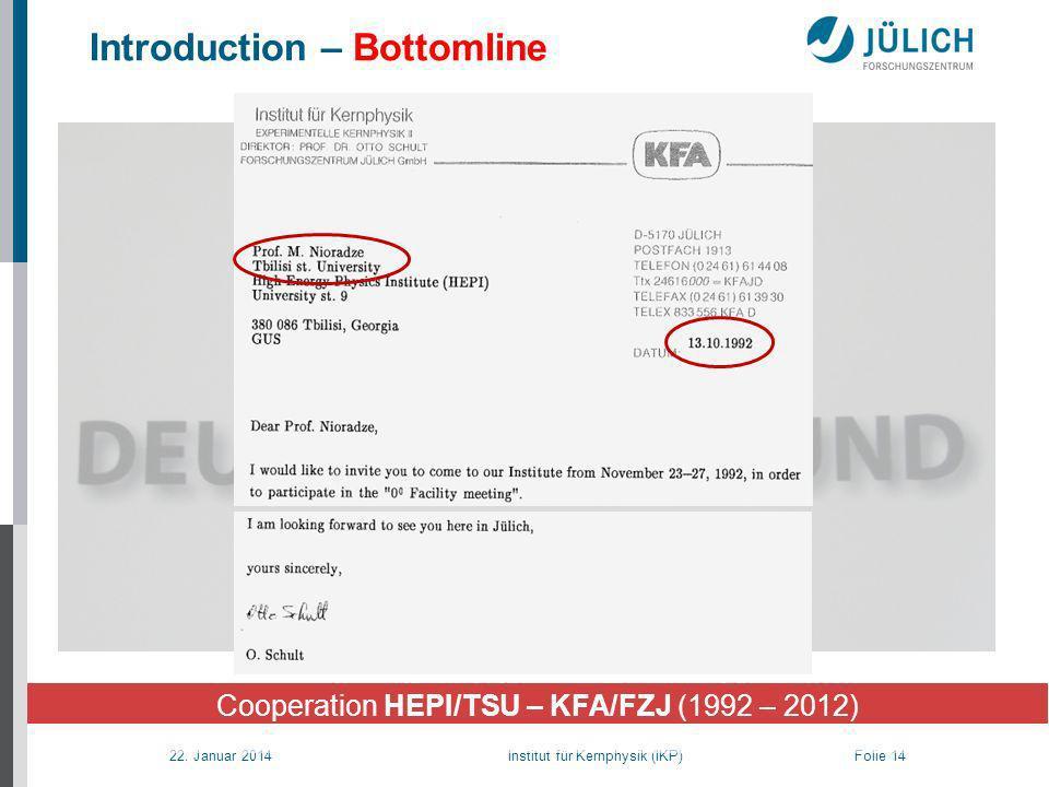 22. Januar 2014 Institut für Kernphysik (IKP) Folie 14 Introduction – Bottomline Cooperation HEPI/TSU – KFA/FZJ (1992 – 2012)