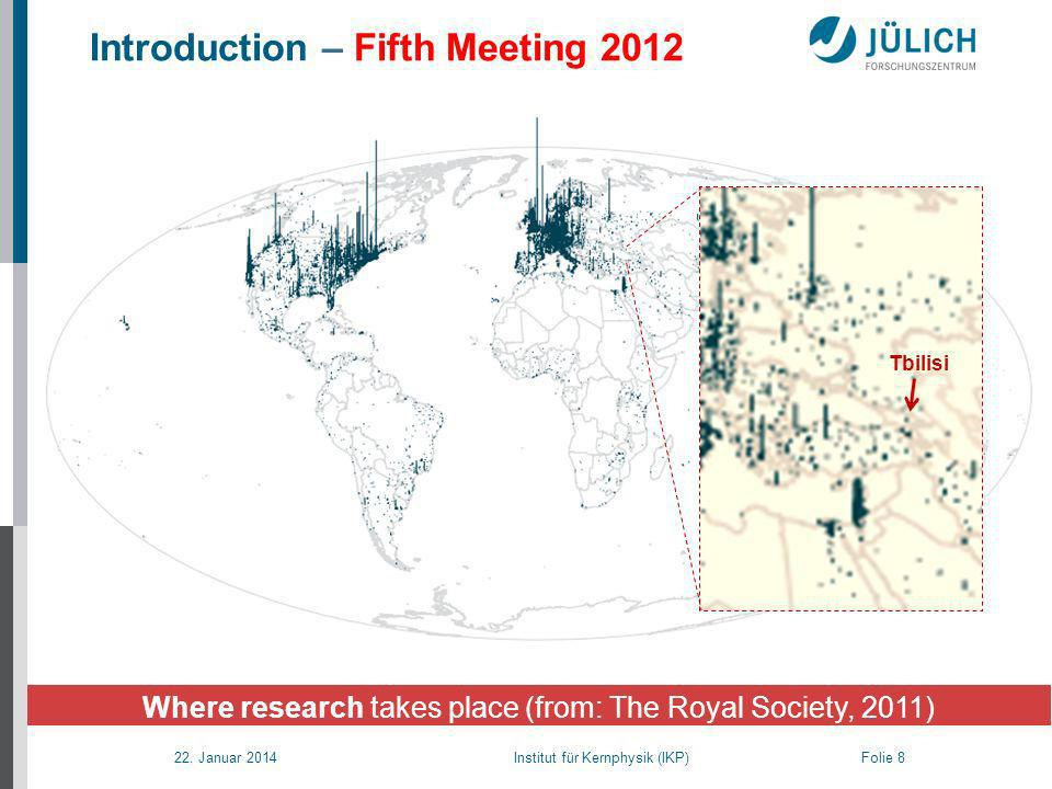 22. Januar 2014 Institut für Kernphysik (IKP) Folie 8 Where research takes place (from: The Royal Society, 2011) Tbilisi Introduction – Fifth Meeting