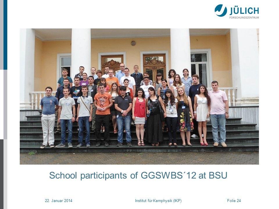 22. Januar 2014 Institut für Kernphysik (IKP) Folie 24 School participants of GGSWBS´12 at BSU