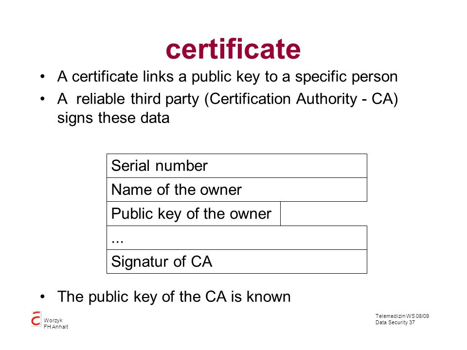 Telemedizin WS 08/09 Data Security 37 Worzyk FH Anhalt certificate A certificate links a public key to a specific person A reliable third party (Certi