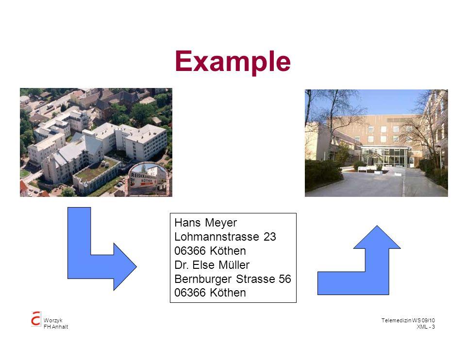 Worzyk FH Anhalt Telemedizin WS 09/10 XML - 4 Example Hans Meyer Lohmannstrasse 23 06366 Köthen Dr.