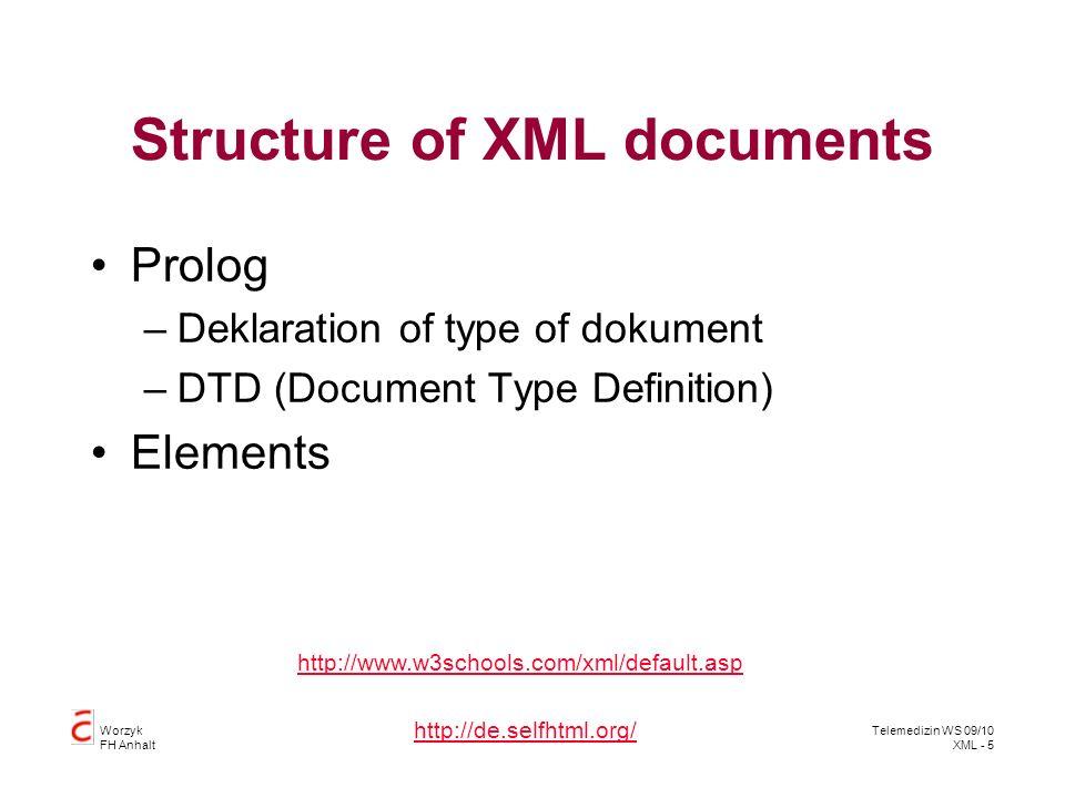 Worzyk FH Anhalt Telemedizin WS 09/10 XML - 46 Queries XPath QXuery XQL –Abfragesprache der Software AG SQL