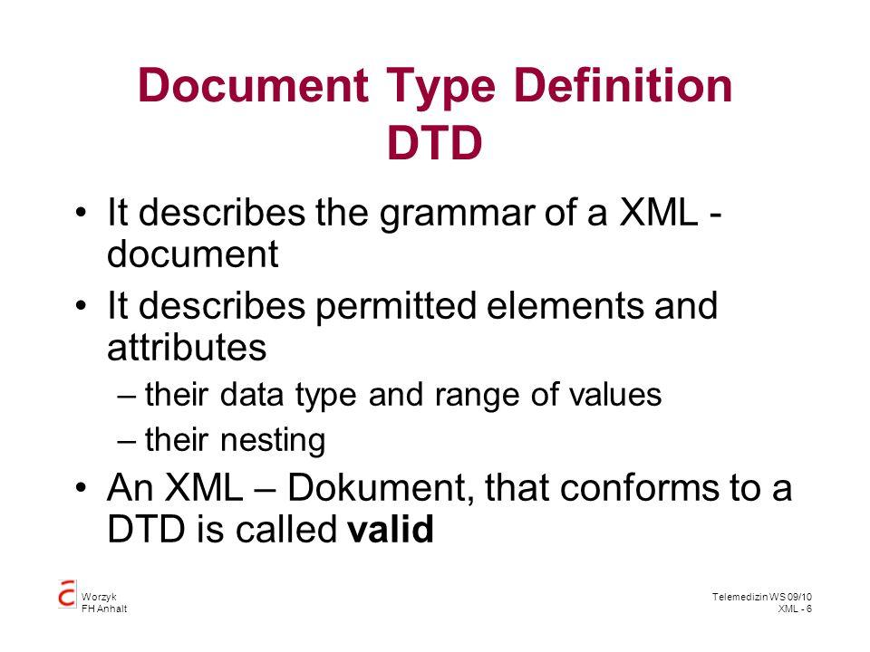 Worzyk FH Anhalt Telemedizin WS 09/10 XML - 17 Parser A parser validates if an XML Document is valide: var xmlDoc = new ActiveXObject( Microsoft.XMLDOM ) xmlDoc.async= false xmlDoc.validateOnParse= true xmlDoc.load( Patienten5.xml ) document.write( Error Code: ) document.write(xmlDoc.parseError.errorCode) document.write( Error Reason: ) document.write(xmlDoc.parseError.reason) document.write( Error Line: ) document.write(xmlDoc.parseError.line) http://www.inf.hs-anhalt.de/~Worzyk/Telemedizin/Beispiele/Parser.htm