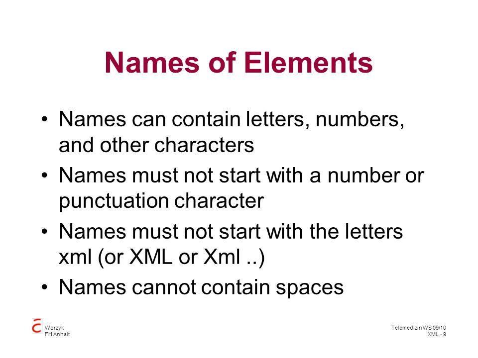 Worzyk FH Anhalt Telemedizin WS 09/10 XML - 20 XML Schema Advantages over DTD XML Schemas are extensible to future additions XML Schemas are richer and more useful than DTDs XML Schemas are written in XML XML Schemas support data types –xs;date, xs;dateTime, xs:string XML Schemas support namespaces –xmlns:xs= http://www.w3.org/2001/XMLSchema