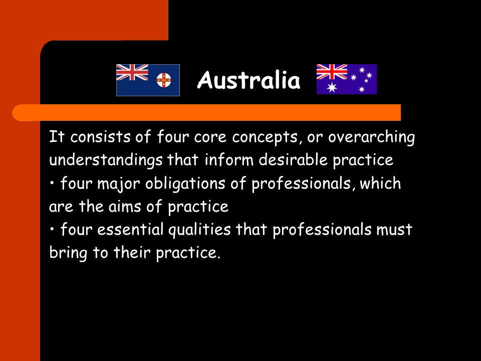 Australia It consists of four core concepts, or overarching understandings that inform desirable practice four major obligations of professionals, which are the aims of practice four essential qualities that professionals must bring to their practice.