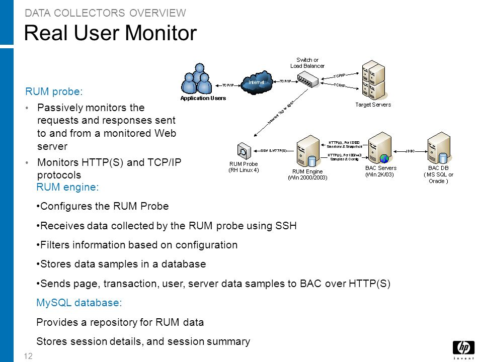 12 Real User Monitor RUM probe: Passively monitors the requests and responses sent to and from a monitored Web server Monitors HTTP(S) and TCP/IP prot