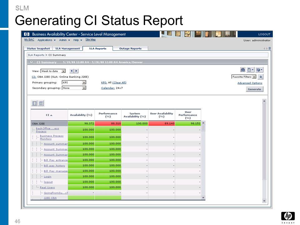 46 Generating CI Status Report SLM