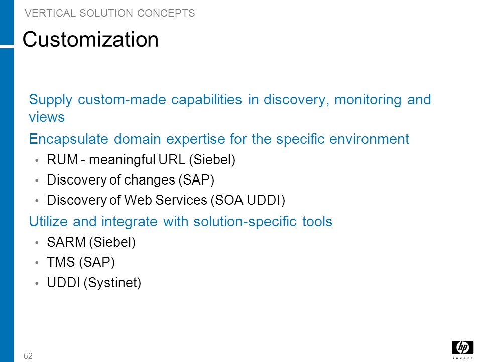 62 Customization Supply custom-made capabilities in discovery, monitoring and views Encapsulate domain expertise for the specific environment RUM - me
