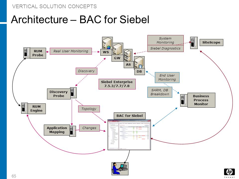 65 BAC for Siebel Siebel Enterprise 7.5.3/7.7/7.8 Business Process Monitor SiteScope System Monitoring Application Mapping Changes End User Monitoring