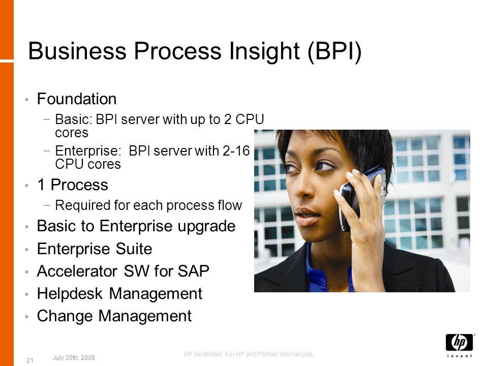Business Process Insight (BPI) Foundation Basic: BPI server with up to 2 CPU cores Enterprise: BPI server with 2-16 CPU cores 1 Process Required for e