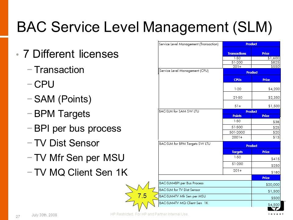 BAC Service Level Management (SLM) 7 Different licenses Transaction CPU SAM (Points) BPM Targets BPI per bus process TV Dist Sensor TV Mfr Sen per MSU