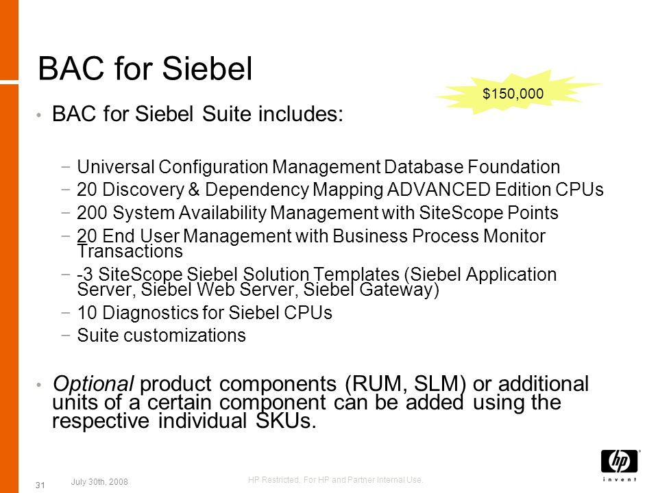 31 BAC for Siebel BAC for Siebel Suite includes: Universal Configuration Management Database Foundation 20 Discovery & Dependency Mapping ADVANCED Edi