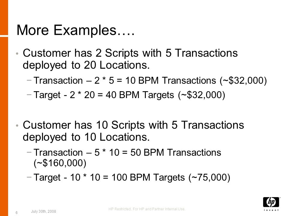 SiteScope Pricing Example Use Case: BAC Customer Purchases 50 Points for SiteScope and Oracle Database Template RulePrice SiteScope on # of Points.