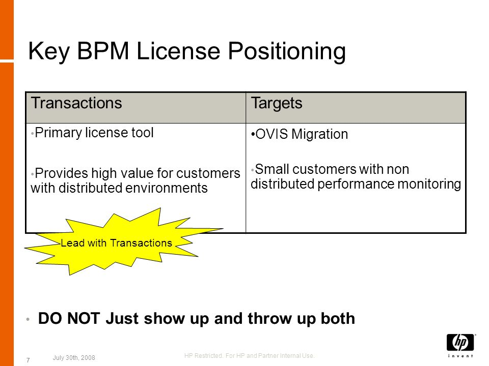 7 Key BPM License Positioning DO NOT Just show up and throw up both TransactionsTargets Primary license tool Provides high value for customers with di