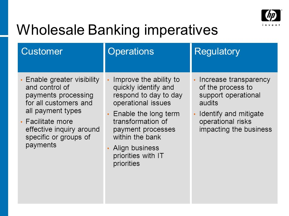 HP BSM for Payments – TransactionVision TransactionVision provides real time, end-to-end visibility into the business services by tracking real transactions Key Attributes: Non-intrusive; no changes to applications, middleware, network, … Auto-discovery of transaction flows Built-in understanding of common transaction data formats, including SWIFT Out-of-box support for common infrastructure technologies, as well as not-so-common technologies often used in payments (Tandem, Tuxedo, …) Built-in integration with HP Business Process Insight Built-in integration with HP BAC Dashboard and the rest of the BAC family of products