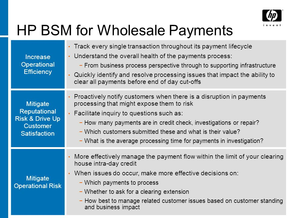 BSM For Wholesale Payments Solution Value Proposition Summary Increase operational efficiency Know the status of every payment transaction all the time Monitoring the overall health of key payments processes Identify and resolve payment processing problems in time to reduce risk Increase customer satisfaction and mitigate Reputation Risk Proactive notification when a payment is at risk Greater customer visibility into their payments status Mitigate Operational Risk Measure, monitor, and react to situations that create exceptional exposures