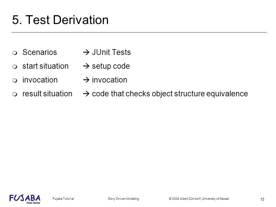 Fujaba Tutorial Story Driven Modeling © 2005 Albert Zündorf, University of Kassel 15 5. Test Derivation m Scenarios JUnit Tests m start situation setu