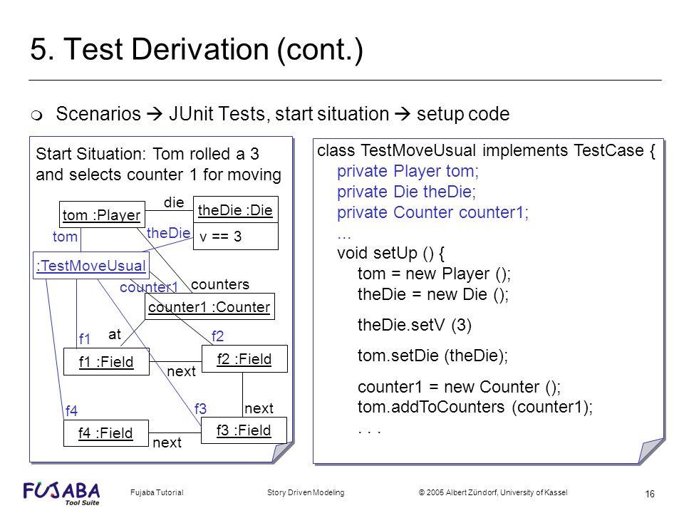 Fujaba Tutorial Story Driven Modeling © 2005 Albert Zündorf, University of Kassel 16 5. Test Derivation (cont.) m Scenarios JUnit Tests, start situati