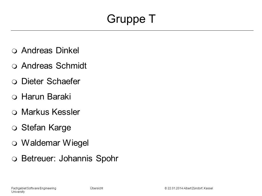 Fachgebiet Software Engineering Übersicht © 22.01.2014 Albert Zündorf, Kassel University Gruppe T m Andreas Dinkel m Andreas Schmidt m Dieter Schaefer