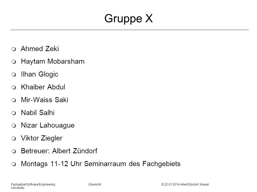 Fachgebiet Software Engineering Übersicht © 22.01.2014 Albert Zündorf, Kassel University Gruppe X m Ahmed Zeki m Haytam Mobarsham m Ilhan Glogic m Kha