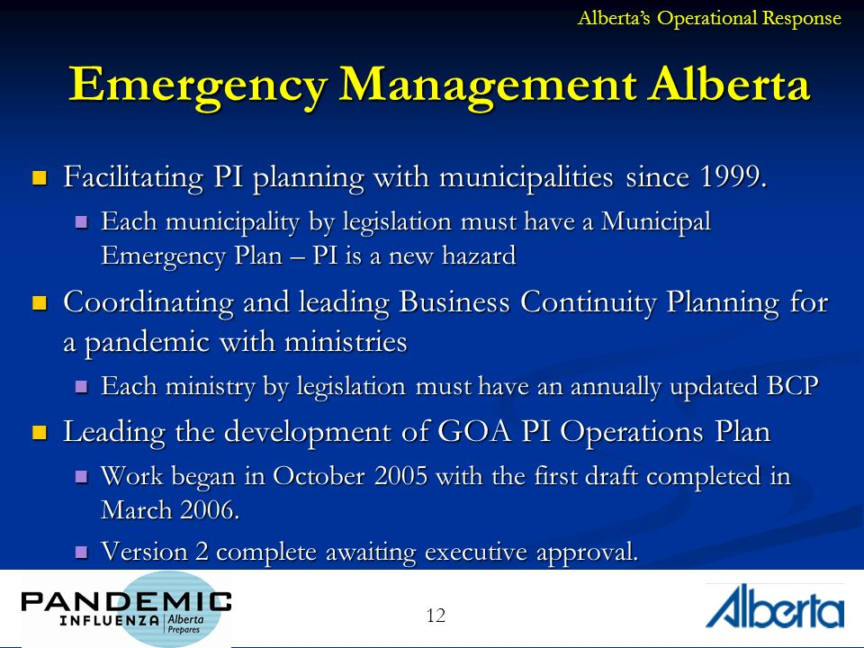 12 Emergency Management Alberta Facilitating PI planning with municipalities since 1999.