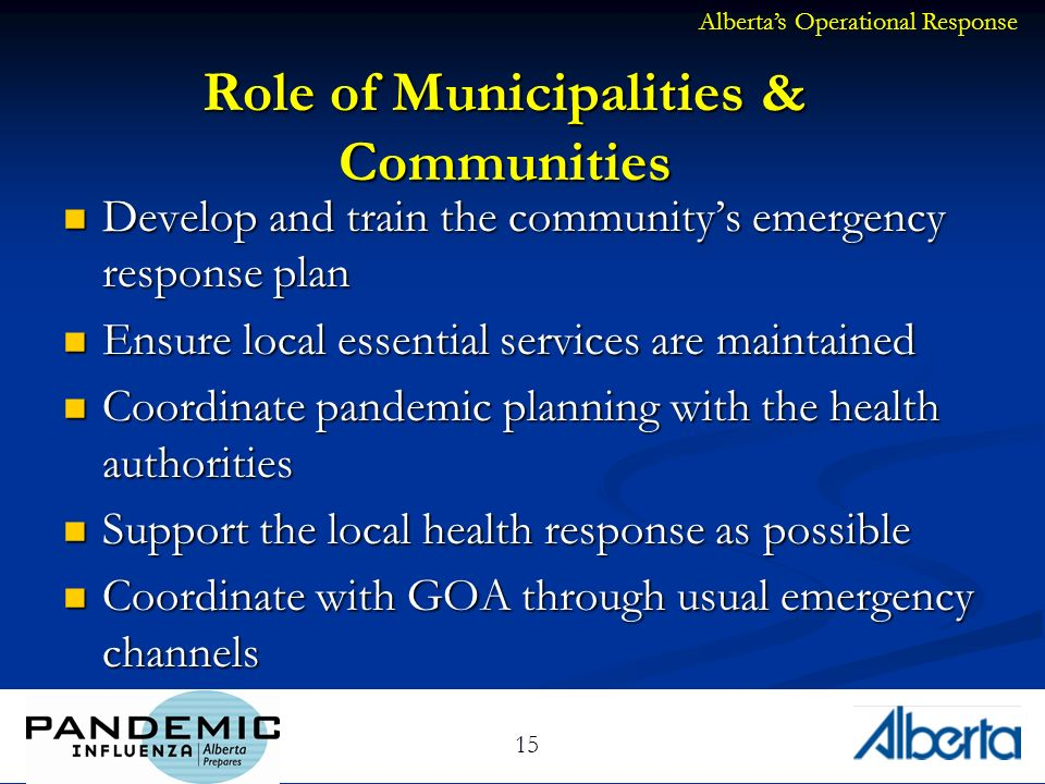 15 Role of Municipalities & Communities Develop and train the communitys emergency response plan Develop and train the communitys emergency response plan Ensure local essential services are maintained Ensure local essential services are maintained Coordinate pandemic planning with the health authorities Coordinate pandemic planning with the health authorities Support the local health response as possible Support the local health response as possible Coordinate with GOA through usual emergency channels Coordinate with GOA through usual emergency channels Albertas Operational Response