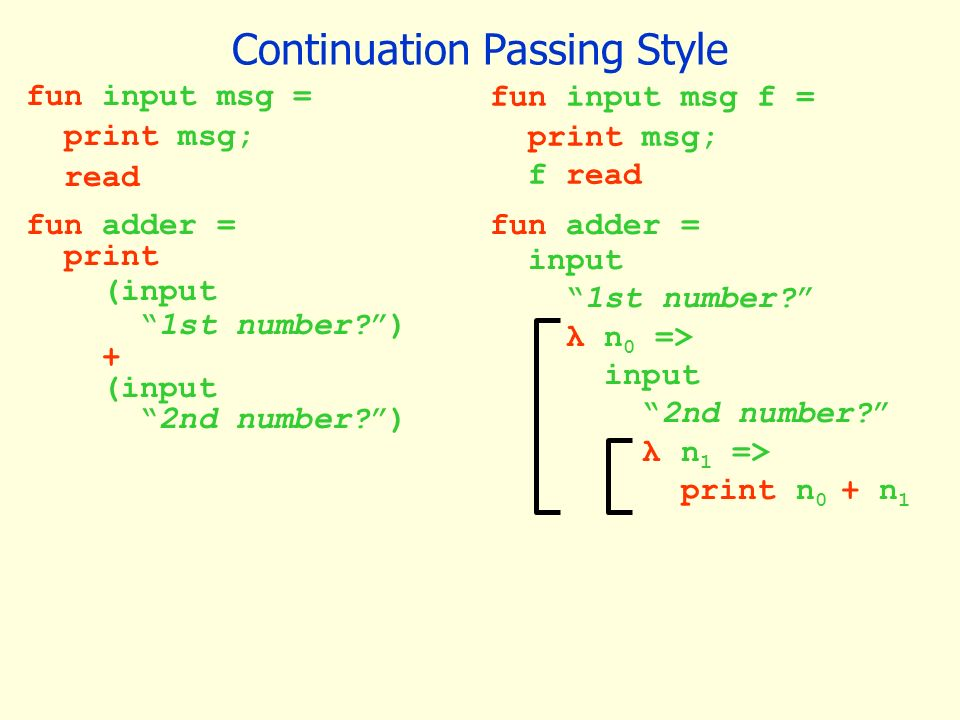continuation passing style (CPS), lambda lifting, defunctionalization.