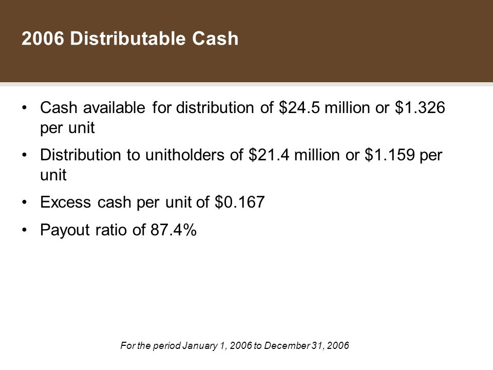 THE DATA GROUP INCOME FUND 2006 Distributable Cash Cash available for distribution of $24.5 million or $1.326 per unit Distribution to unitholders of $21.4 million or $1.159 per unit Excess cash per unit of $0.167 Payout ratio of 87.4% For the period January 1, 2006 to December 31, 2006