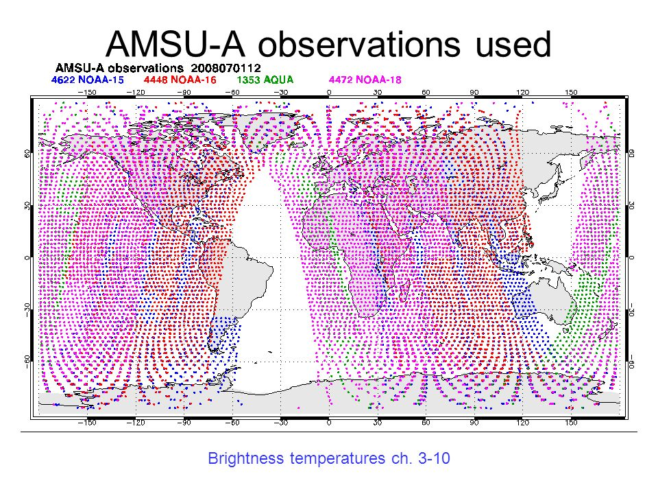 AMSU-A observations used Brightness temperatures ch. 3-10