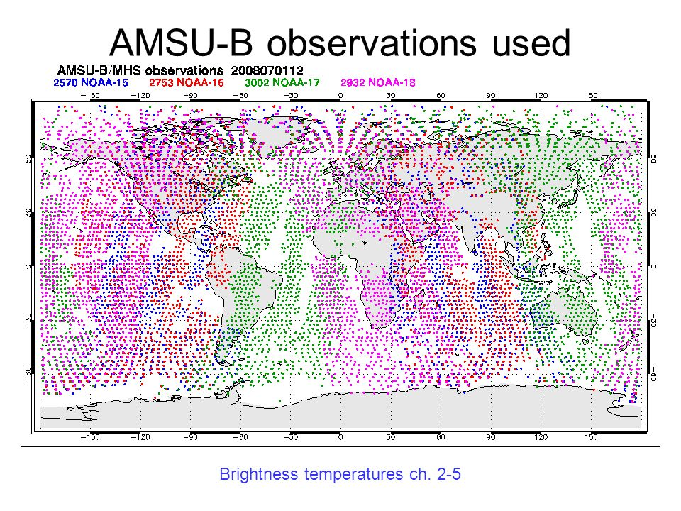 AMSU-B observations used Brightness temperatures ch. 2-5