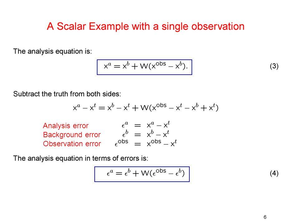 Analysis error Background error Observation error