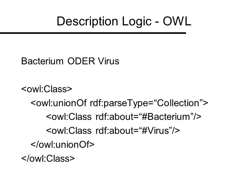 Representation of SN using OWL Semantic Types OWL classes –Fungus Organism –Virus Organism Semantic Relationships OWL properties –part_of physically_related_to –affects functionally_related_to Properties of Semantic Network Relationships –Asymmetric relationships has_part part_of –Symmetric relationships adjacent_to adjacent_to