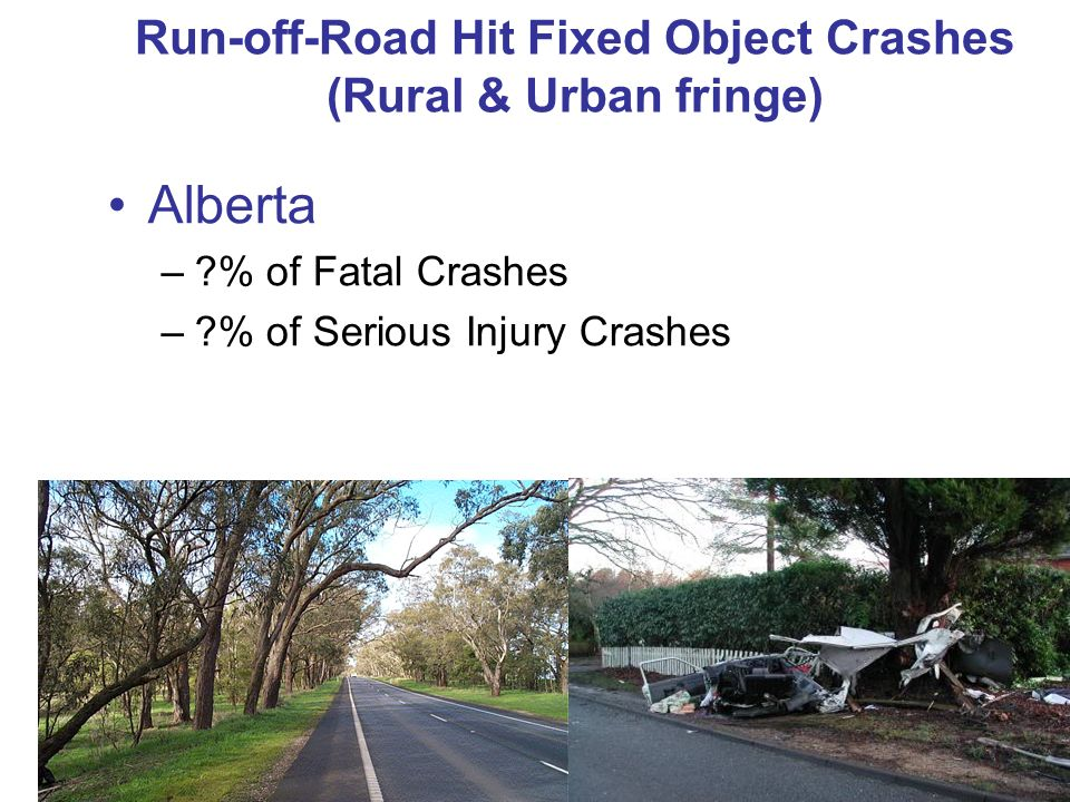 Run-off-Road Hit Fixed Object Crashes (Rural & Urban fringe) Alberta –?% of Fatal Crashes –?% of Serious Injury Crashes