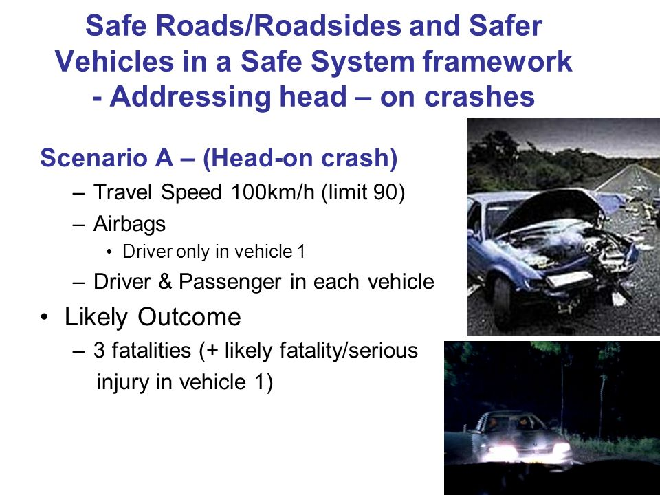 Safe Roads/Roadsides and Safer Vehicles in a Safe System framework - Addressing head – on crashes Scenario A – (Head-on crash) –Travel Speed 100km/h (