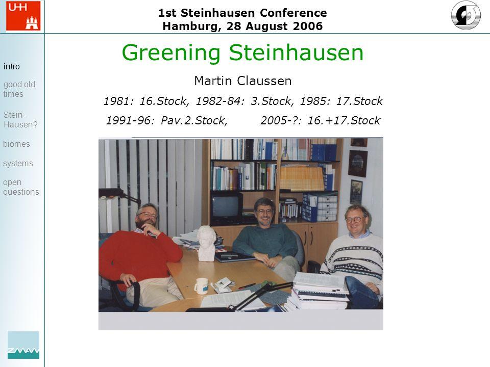 1st Steinhausen Conference Hamburg, 28 August 2006 Greening Steinhausen Martin Claussen 1981: 16.Stock, 1982-84: 3.Stock, 1985: 17.Stock 1991-96: Pav.2.Stock, 2005- : 16.+17.Stock intro good old times Stein- Hausen.