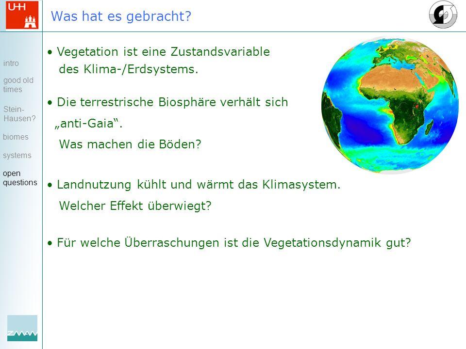 Was hat es gebracht. Vegetation ist eine Zustandsvariable des Klima-/Erdsystems.