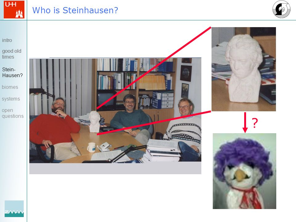 Who is Steinhausen? intro good old times ? intro good old times Stein- Hausen? biomes systems open questions