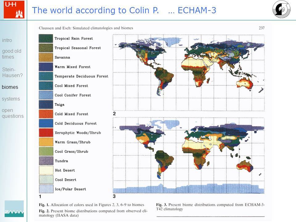 The world according to Colin P. … ECHAM-3 intro good old times Stein- Hausen? biomes systems open questions