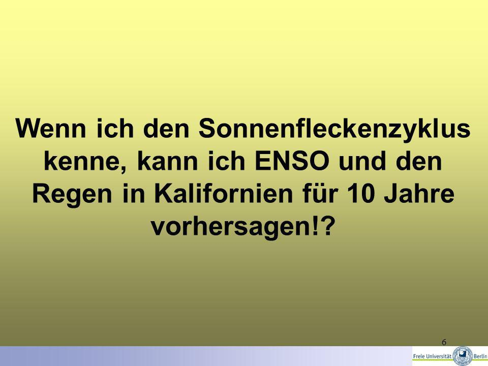 6 Wenn ich den Sonnenfleckenzyklus kenne, kann ich ENSO und den Regen in Kalifornien für 10 Jahre vorhersagen!?