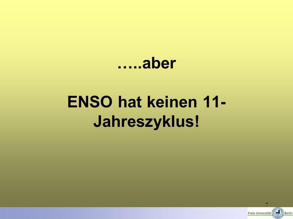 7 …..aber ENSO hat keinen 11- Jahreszyklus!
