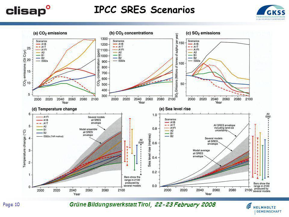 Grüne Bildungswerkstatt Tirol, 22-23 February 2008 Page 10 IPCC SRES Scenarios