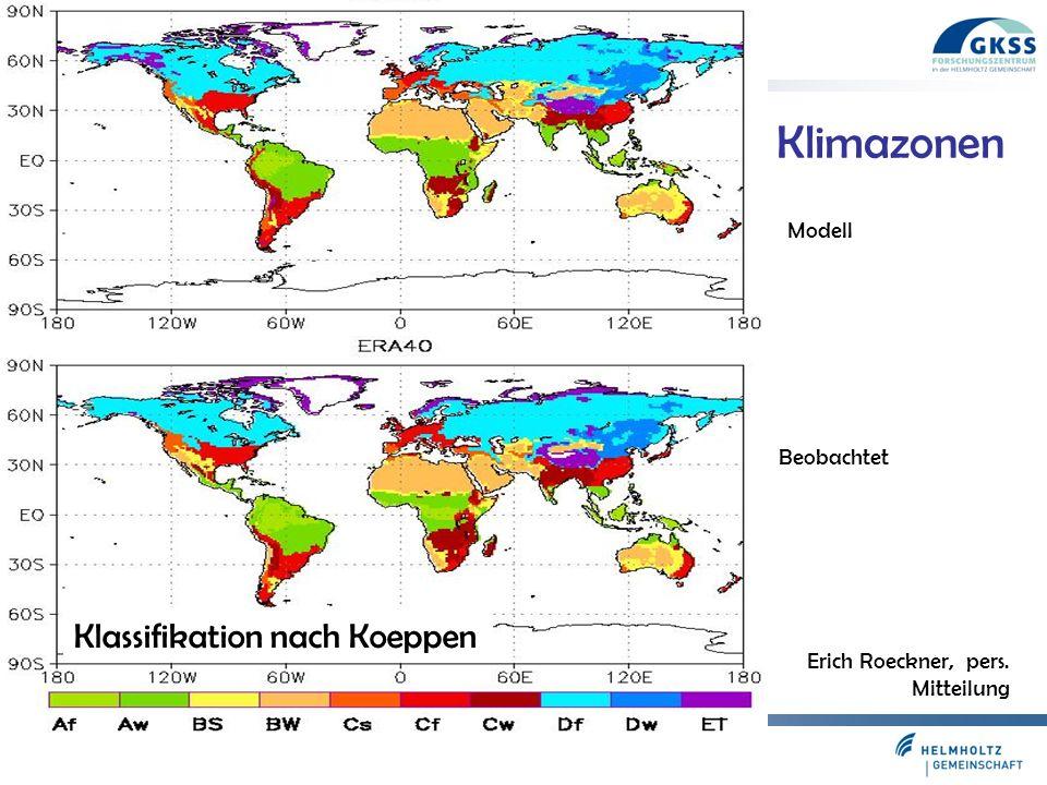 Folie 11 Modell Beobachtet Klimazonen Klassifikation nach Koeppen Erich Roeckner, pers. Mitteilung