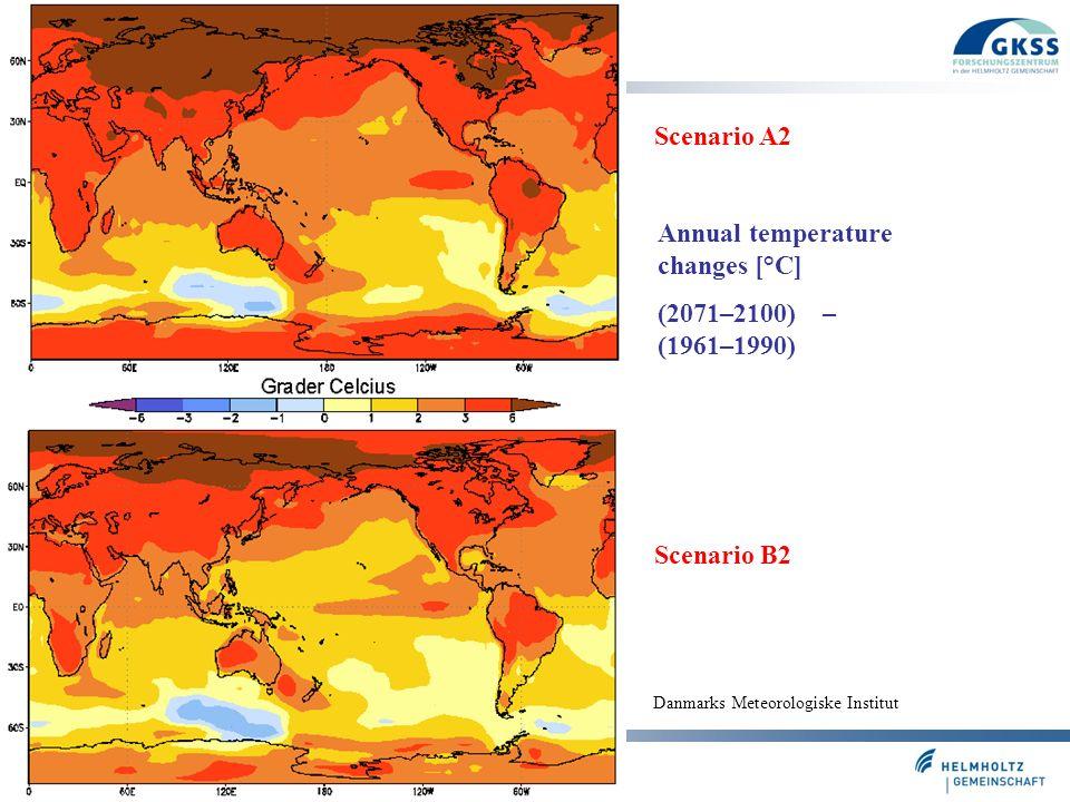 Folie 27 Scenario A2 Scenario B2 Danmarks Meteorologiske Institut Annual temperature changes [°C] (2071–2100) – (1961–1990)