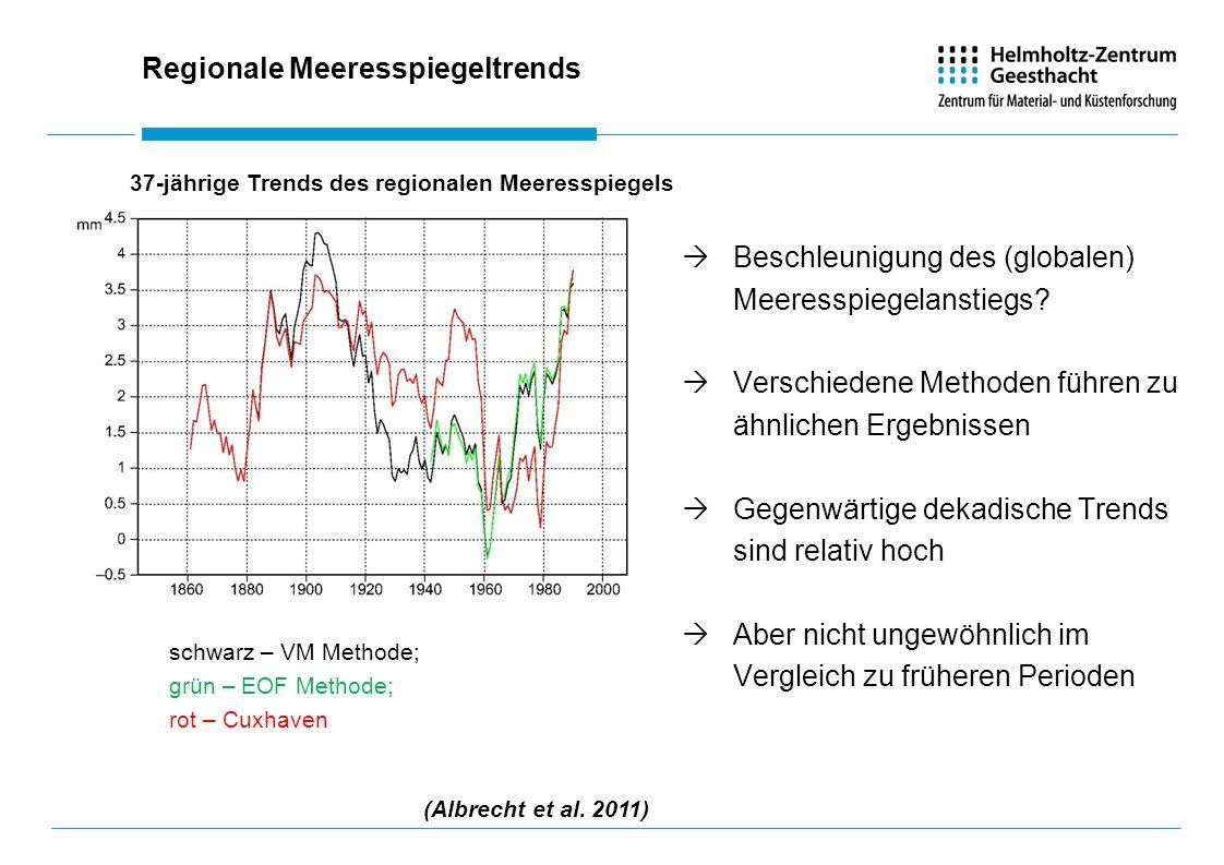 Regionale Meeresspiegeltrends Beschleunigung des (globalen) Meeresspiegelanstiegs.