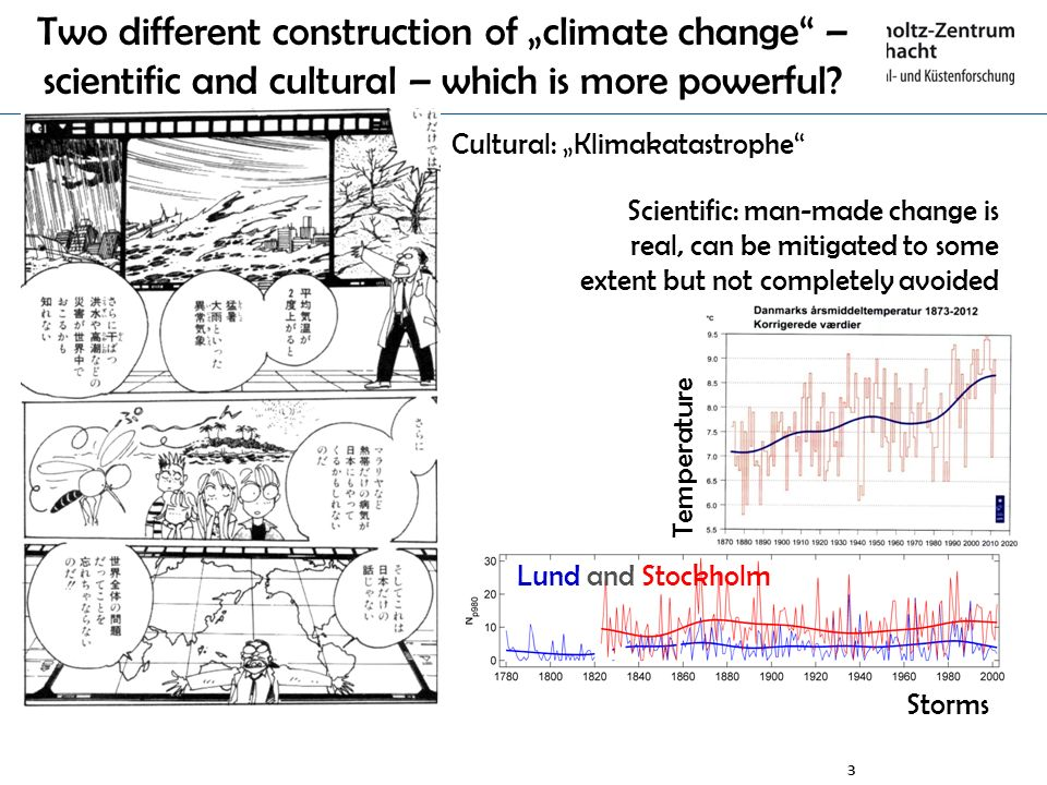 3 Lund and Stockholm Two different construction of climate change – scientific and cultural – which is more powerful? Cultural: Klimakatastrophe Scien
