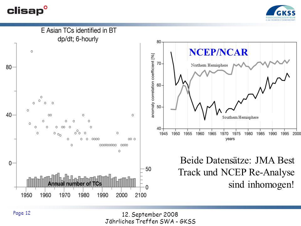 12. September 2008 Jährliches Treffen SWA - GKSS Page 12 Beide Datensätze: JMA Best Track und NCEP Re-Analyse sind inhomogen! JMA best track NCEP/NCAR
