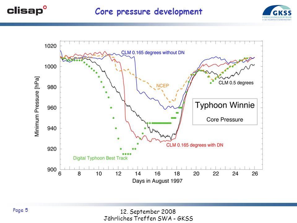 12. September 2008 Jährliches Treffen SWA - GKSS Page 5 Core pressure development