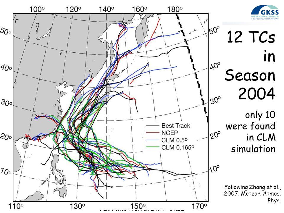 12. September 2008 Jährliches Treffen SWA - GKSS Page 6 12 TCs in Season 2004 only 10 were found in CLM simulation Following Zhang et al., 2007. Meteo
