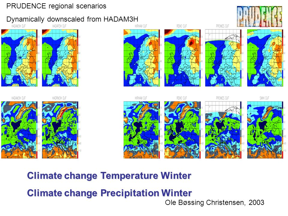 Climate change Temperature Winter Climate change Precipitation Winter Ole Bøssing Christensen, 2003 PRUDENCE regional scenarios Dynamically downscaled from HADAM3H